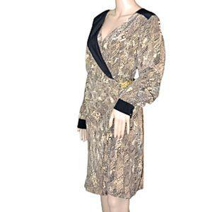 NWT Trina Turk Black & Nude Beige Silk Dress 12